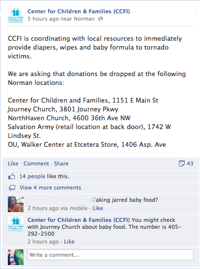 Center For Children and Families Tornado relief