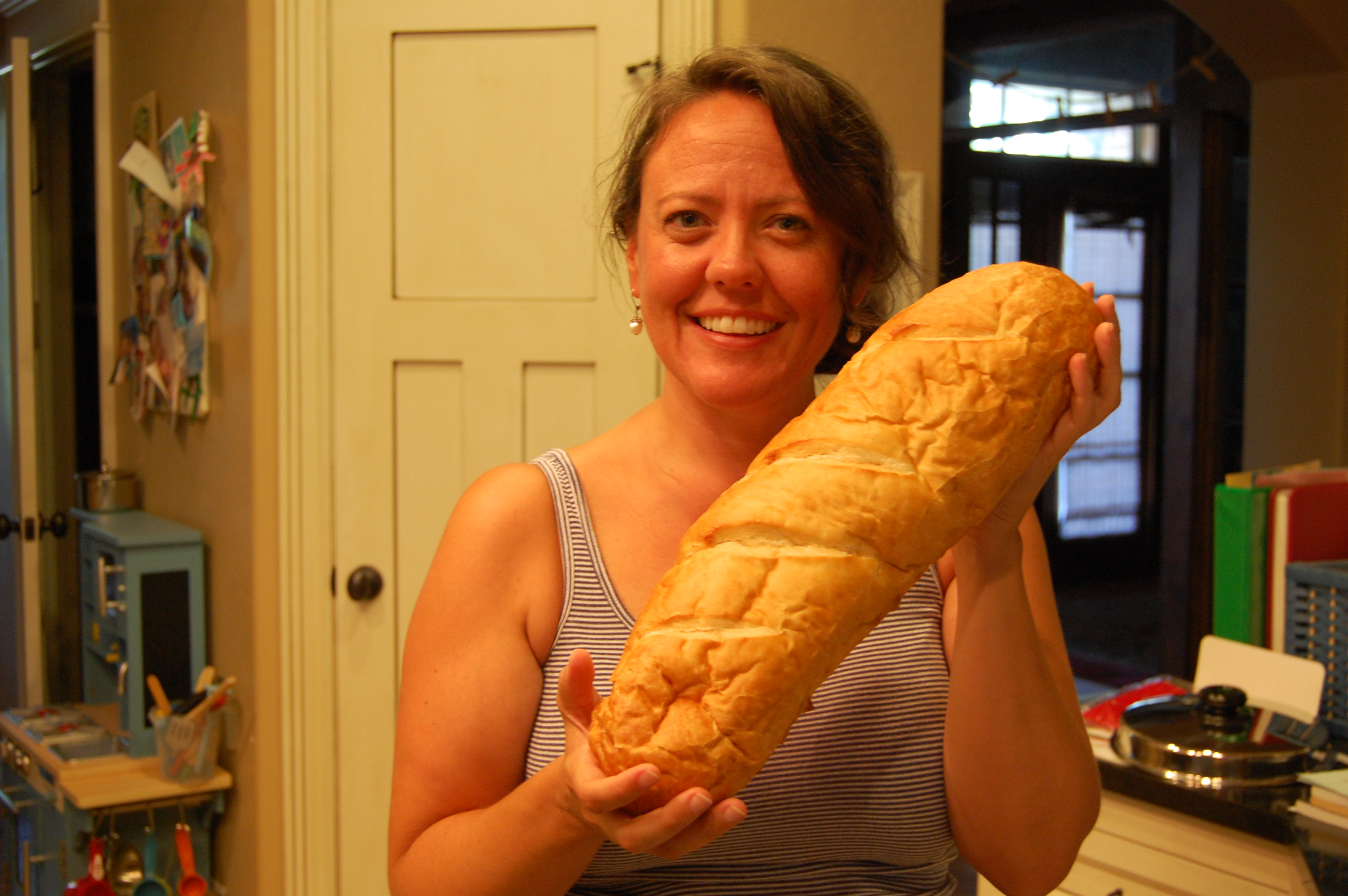 cute girl with french bread
